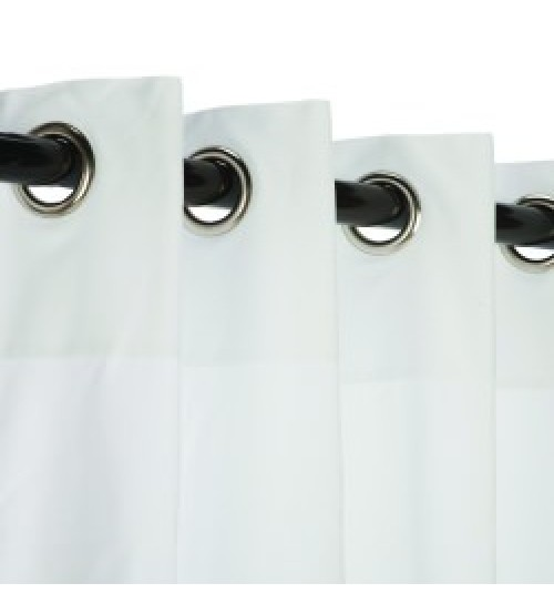Sunbrella Outdoor Curtain with Nickel Grommets - Canvas White