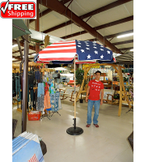 American Flag Commercial Wood Beach Umbrella - 7.5' Round