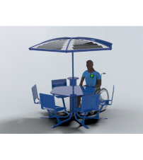 Aurora-Solar Canopy and Table included. Accommodates 5 backed seating positions and 1 ADA access point.