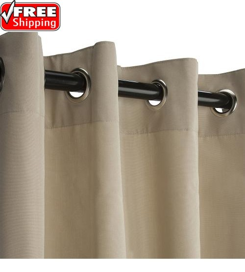 Sunbrella Outdoor Curtain with Nickel Grommets - Canvas Antique Beige