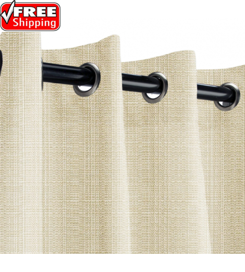 Sunbrella Outdoor Curtain with Nickel Grommets - Linen Antique Beige