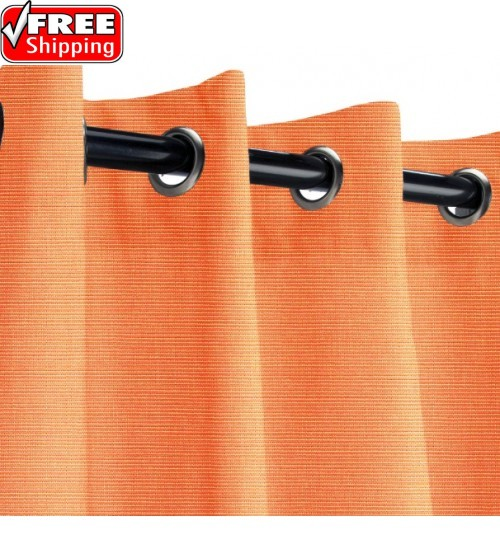 Sunbrella Outdoor Curtain with Nickel Grommets - Tangerinei