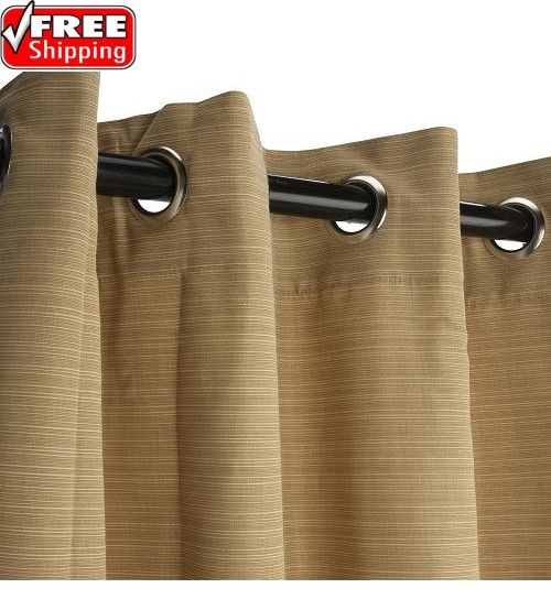 Sunbrella Outdoor Curtain with Nickel Grommets - Dupione Bamboo