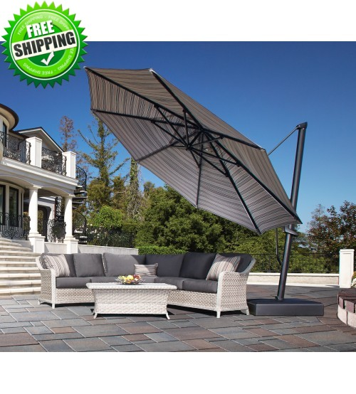 Treasure Garden 13' AKZP PLUS Octagon Cantilever Umbrella - Sunbrella