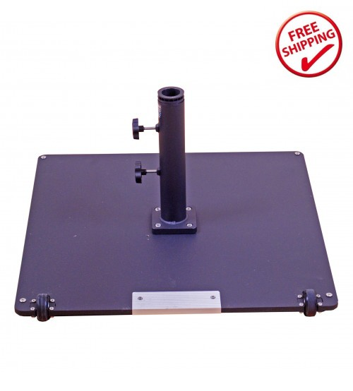 Galtech 95 LBS Square Commercial Umbrella Base W/ Wheels - Black