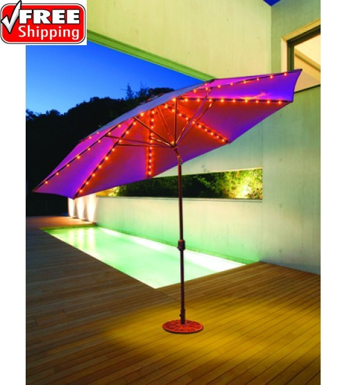 Galtech 986 - 11 FT Auto Tilt Patio Umbrella W/ L.E.D. Lights