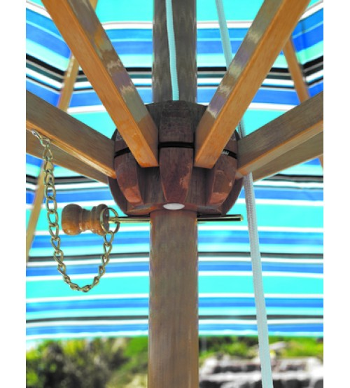... Galtech 9u0027 Wood Market Umbrella With Pulley Lift   Frame Only ...