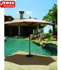 Galtech 279 - 8x11 FT Oval Wood Market Umbrella