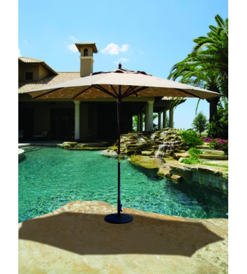 Galtech 279 8x11 Ft Oval Wood Market Umbrella