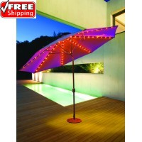 Galtech 11' Auto Tilt Patio Umbrella W/ L.E.D. Lights