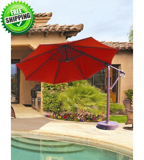 Galtech 887 - 11 FT Octagon Cantilever Umbrella w/ Roller Base
