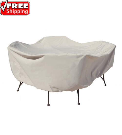 """Treasure Garden Protective Furniture Cover - 48"""" Round Table and Chairs w/4 ties, elastic & spring cinch lock (no hole)"""
