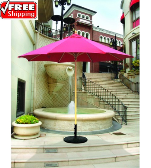 Galtech 9' Wood Market Umbrella / Single Pole - Frame Only