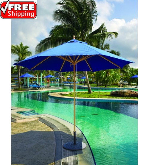 Galtech 132/232 - 9 FT Wood Market Umbrella With Pulley Lift