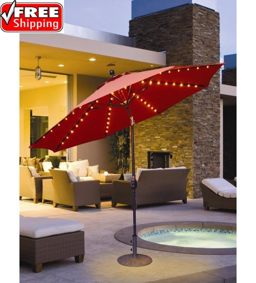 Galtech 936 -  9 FT Auto Tilt Patio Umbrella W/ L.E.D. Lights
