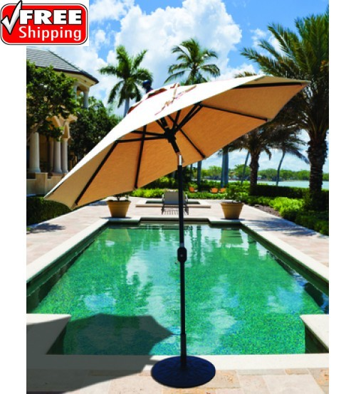 Galtech 7.5' Deluxe Auto Tilt Patio Umbrella - Sand finish