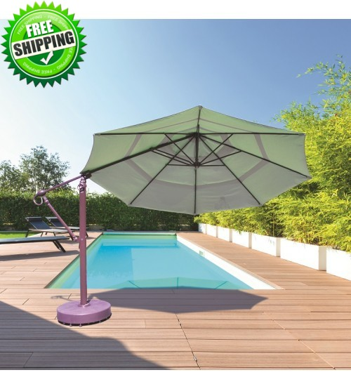 Galtech 899 - 13 FT Octagon Cantilever Umbrella w/ Roller Base