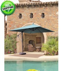 10x10' Square Galtech Cantilever Patio Umbrella w/ Base