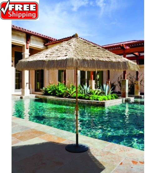 Galtech 738 - 9 FT Bamboo Deluxe Auto Tilt Patio Umbrella - Fabric top