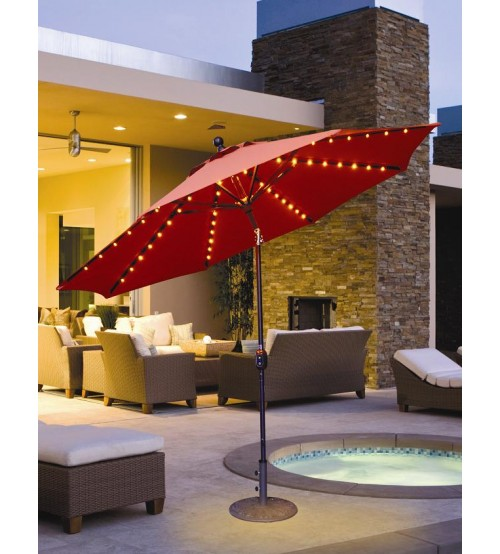 Galtech 936   9 FT Auto Tilt Patio Umbrella W/ L.E.D. Lights ...