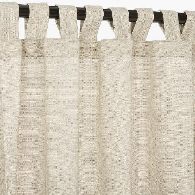 Sunbrella outdoor curtain with tabs linen silver