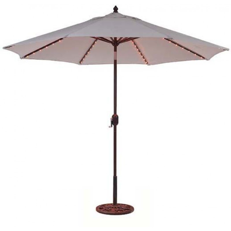 galtech 9 39 auto tilt patio umbrella w l e d lights