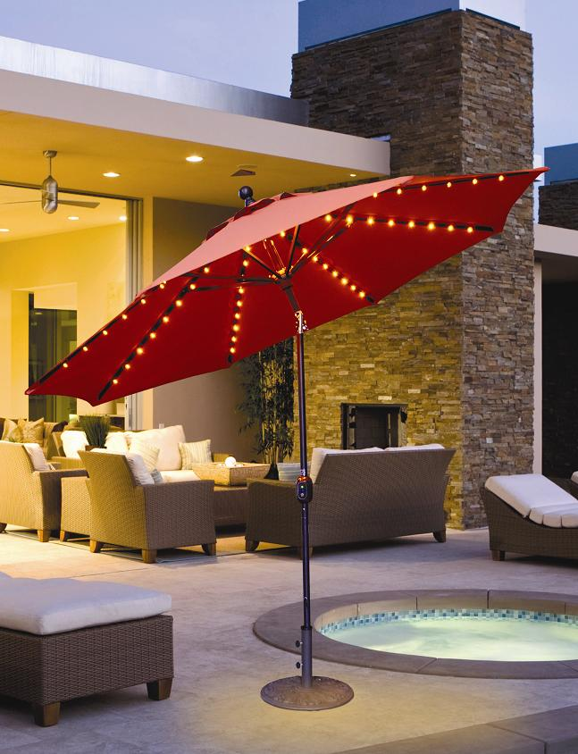 Galtech 936   9 FT Auto Tilt Patio Umbrella W/ L.E.D. Lights